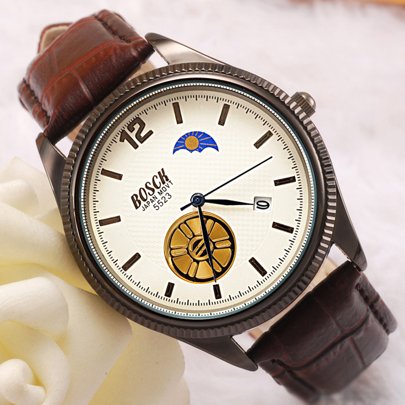 White Dial Brown Leather