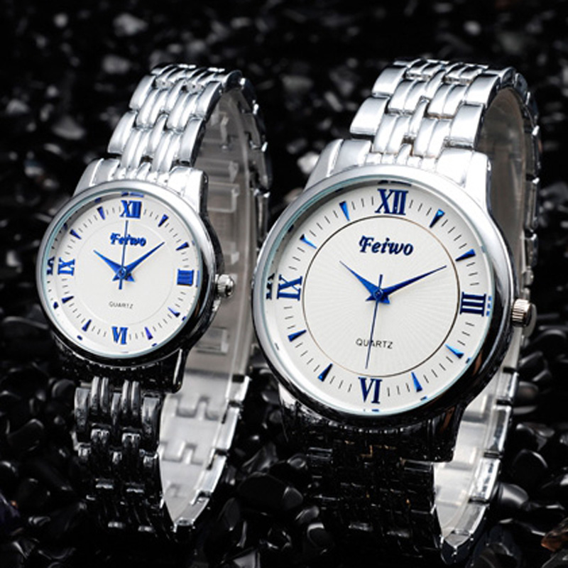 Fashion Alloy Case Black/White Dial Quartz Couple Watch 67761