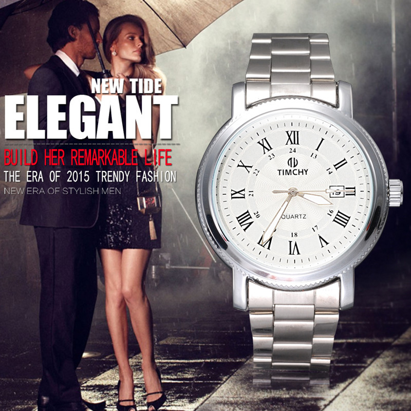 Fashion Style Business Alloy Case Black/White Dial Men Watch