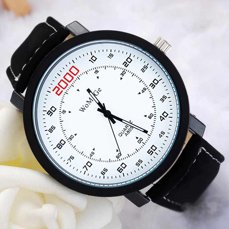 Fashion Style Number Markers Waterproof Brown/Black/White Dial Quartz Men Watch 69885