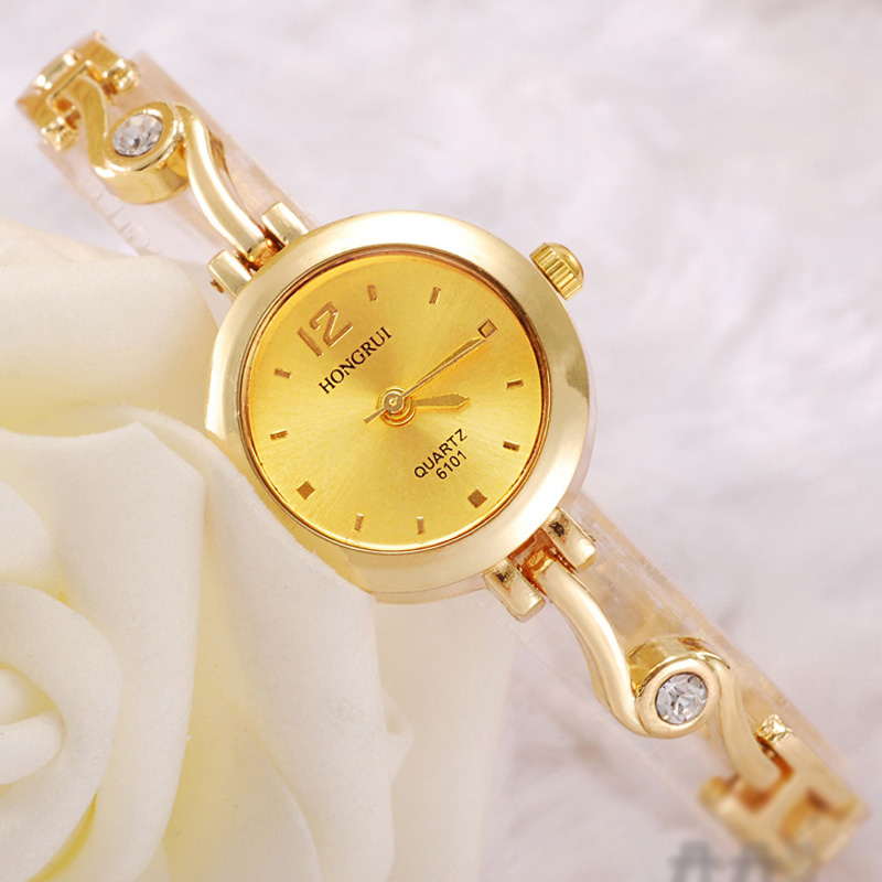 Elegant With Diamond Watch Alloy Case White/Gold Dial Women Braclet 70150