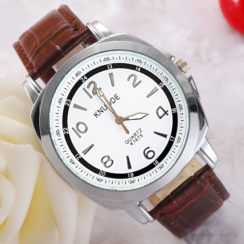 Fashion White/Black Dial Number Markers Men Watch 69466