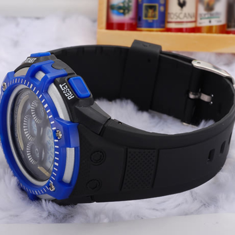 Electronic Movement Silicone Strap Digital Multifunction Waterproof Men Wristwatches 68305