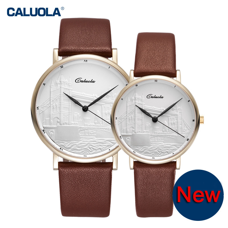 Caluola Couple Watches Ultra-thin Simple Quartz Retro Watch CA1119