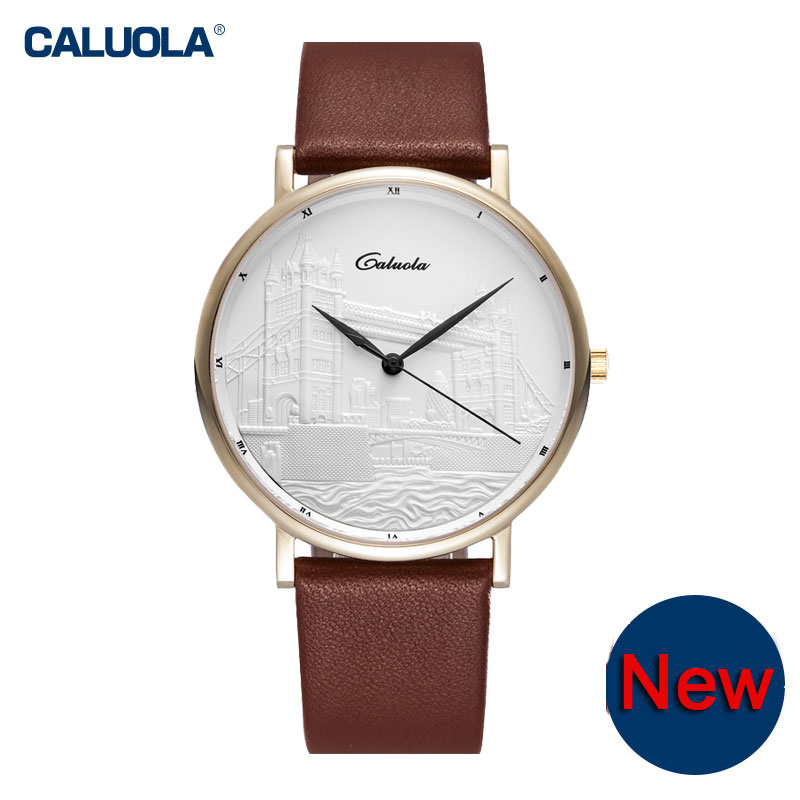 Caluola Quartz Watches Men Simple Ultra-thin Retro Watch CA1119