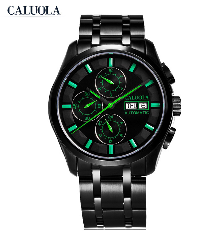 Caluola Automatic Watch with Day-Date Chronograph Super Luminous Mens Sports Watch CA1071M