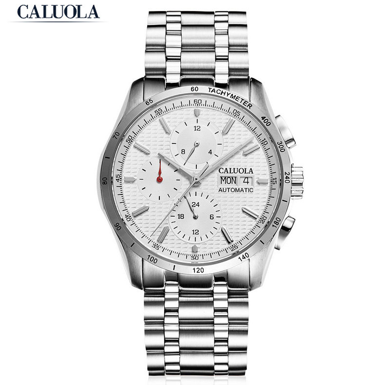 Caluola Master Series Automatic Day-Date Watch LuminousBusiness Watches for Men 1169