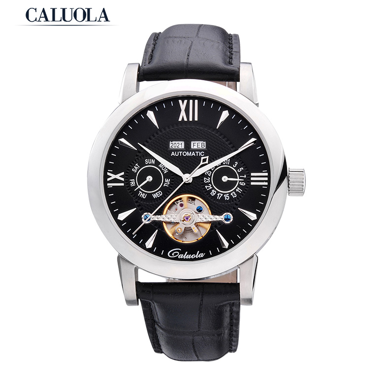 Caluola Fashion Luxury Tourbillon Automatic Watch with Day-Date Retro Male Watches CA1048