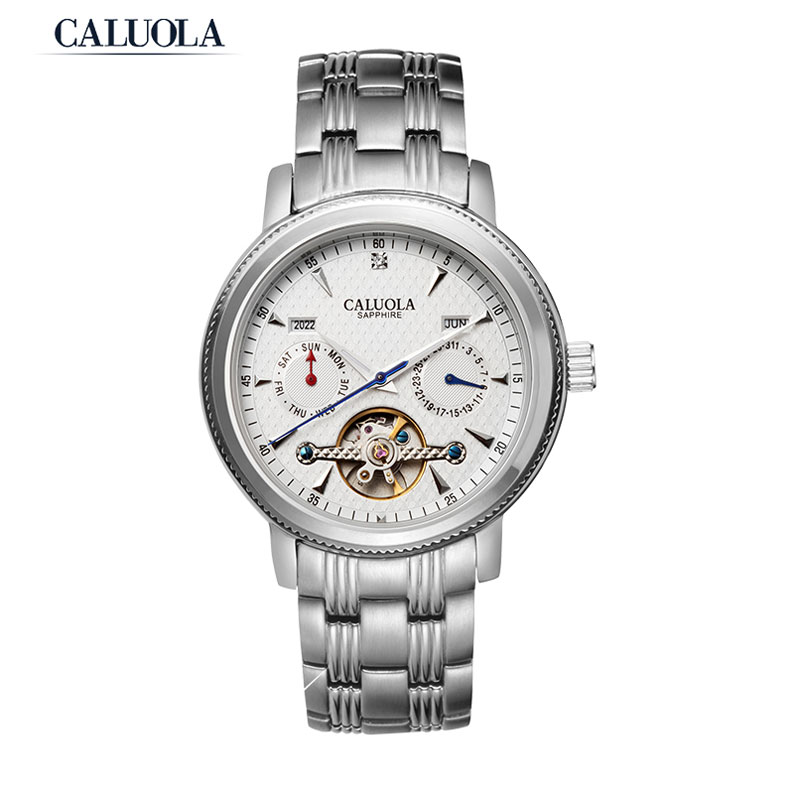 Caluola Tourbillon Automatic Watches with Day-Date Complete Calendar Men Sports Watches CA1034M
