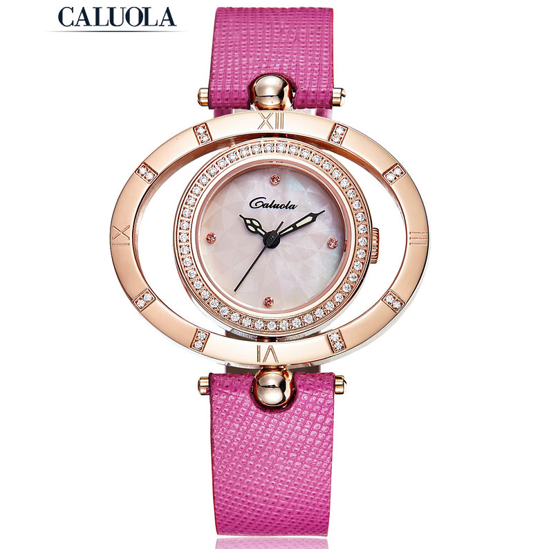 Caluola Quartz Diamond Dress Women's Watch Luminous Double Bezel Watch CA1126L