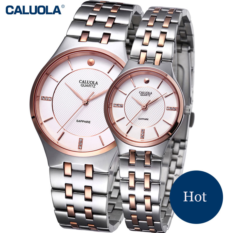 Caluola Couple Watches Ultra-thin Steel Watch Simple Quartz Fashion Casual Watch CA1019