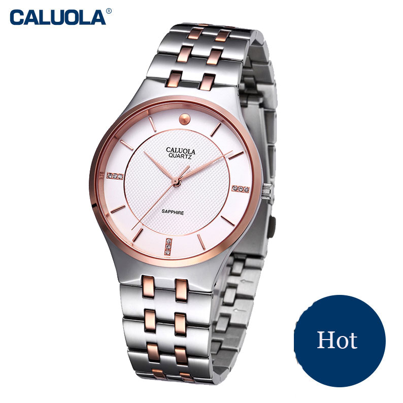 Caluola Ultra-thin Steel Watch Simple Quartz Men Watches Fashion Casual Watch CA1019