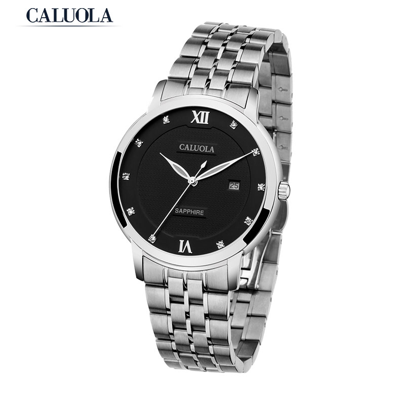 Caluola Ultra Thin Quartz Sport Casual Watch Date Luminous Full Steel Men Watch CA1050
