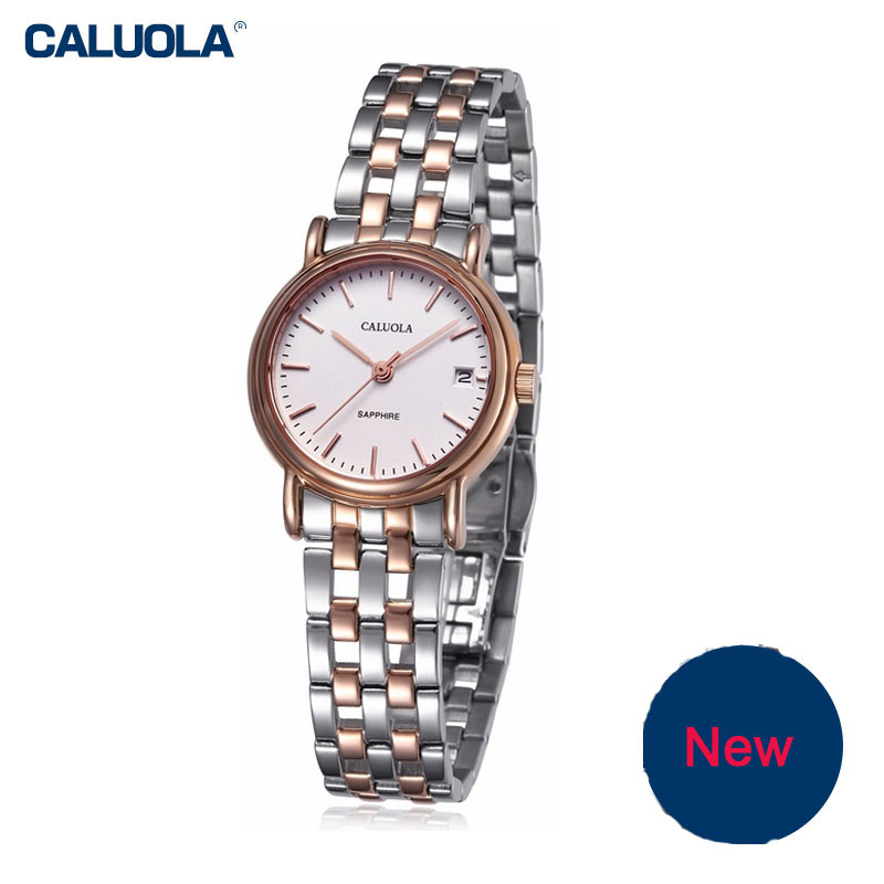 Caluola Quartz Fashion Watches with Date Watches For Women Leather Steel Simple CA1002G