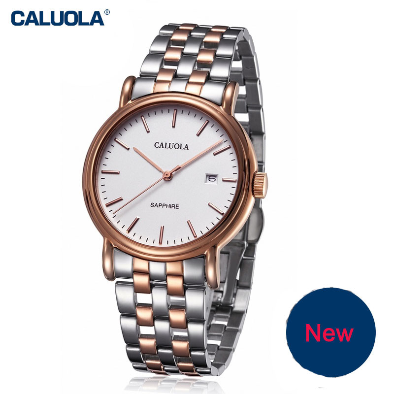 Caluola Quartz Men Watch Simple Watches with Date Fashion Watch Steel Leather CA1002G