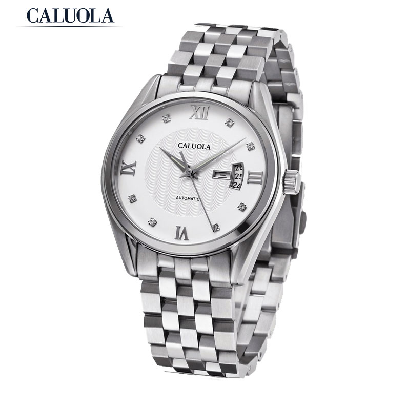 Caluola Automatic Men Watch Day-Date Retro Design Business Watches Steel Sports Watch CA1035MM