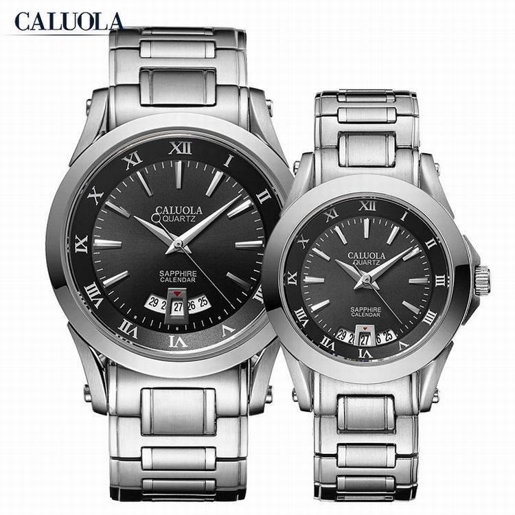 Caluola Fashion Couple Quartz Watch with Date Steel Sports Watches CA1006GL