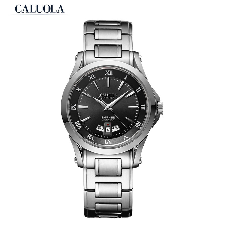 Caluola Fashion Quartz Watch with Date Men Watches Steel Sports CA1006GL