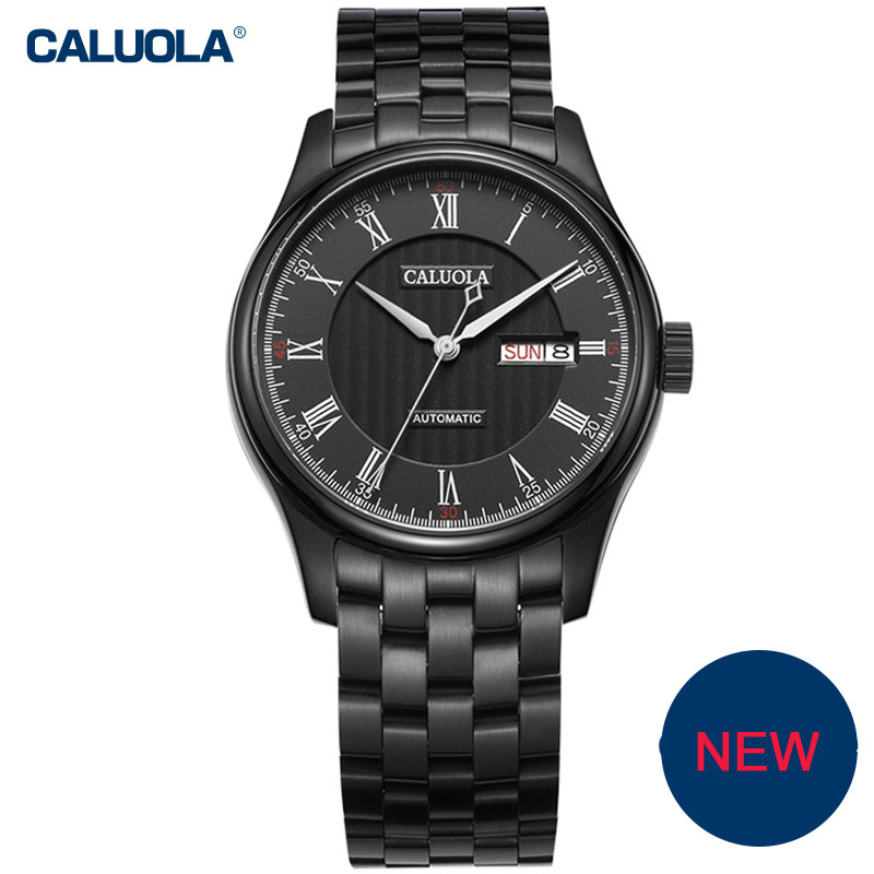 Caluola Automatic Men Watch Business Watches with Day-Date Fashion Steel Leather CA1092M