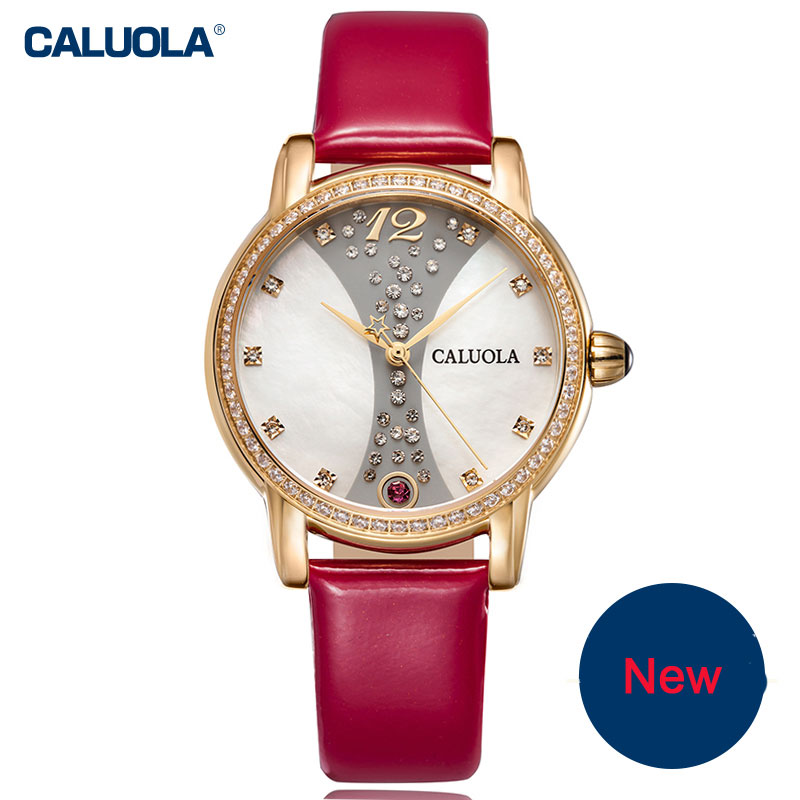 Caluola Quartz Watch Diamond Fashion Women Watch MOP Dial Leather 1031LD