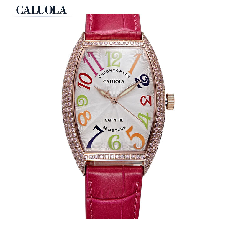 Caluola Quartz Watch Tonneau Dial Design Women Watch Diamond Fashion Watch CA1141L