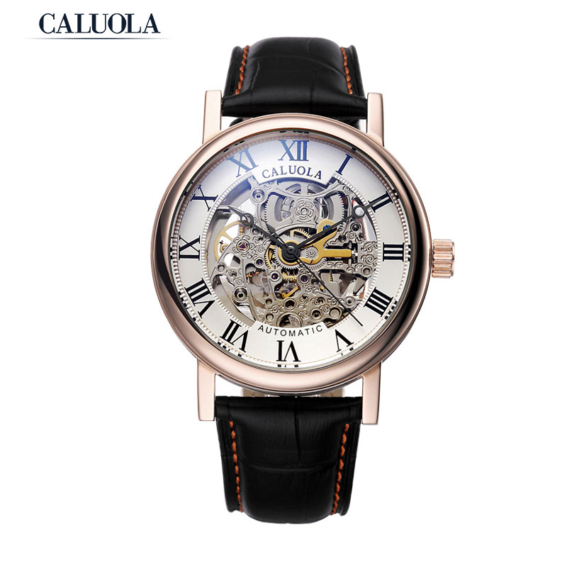 Caluola Automatic Fashion Couple Watch Skeleton Design Leather Watch CA1089M