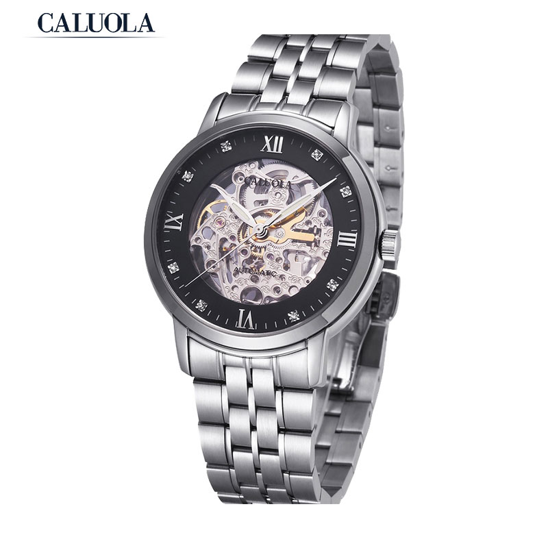 Caluola Automatic Watch Business Men Watch Fashion Skeleton Watches Steel Retro 1050M