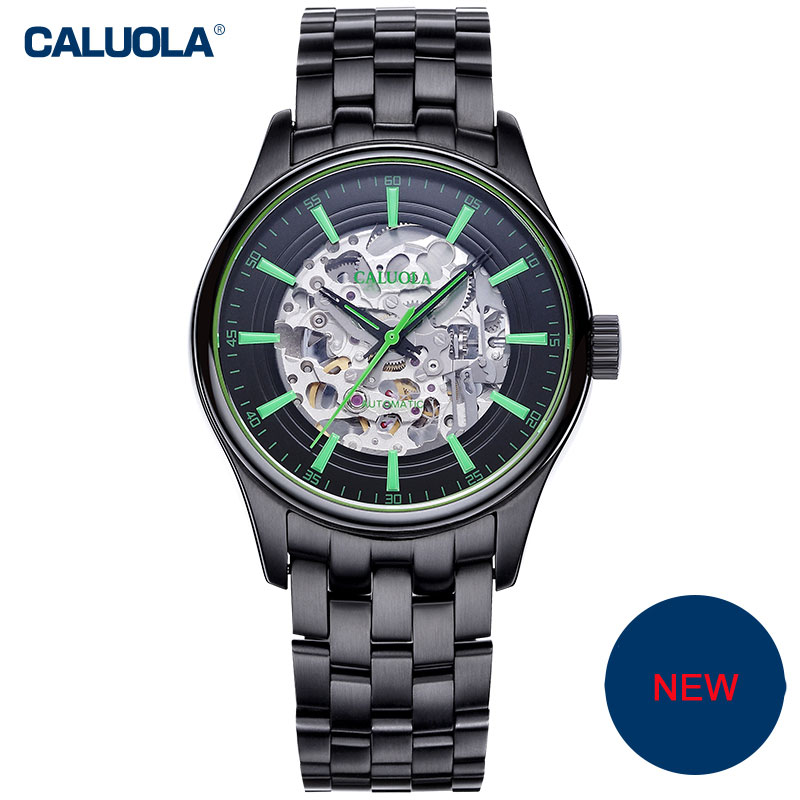 Caluola Exquisite Men Watch Automatic Fashion Skeleton Dial Design Steel Leather CA1132MM