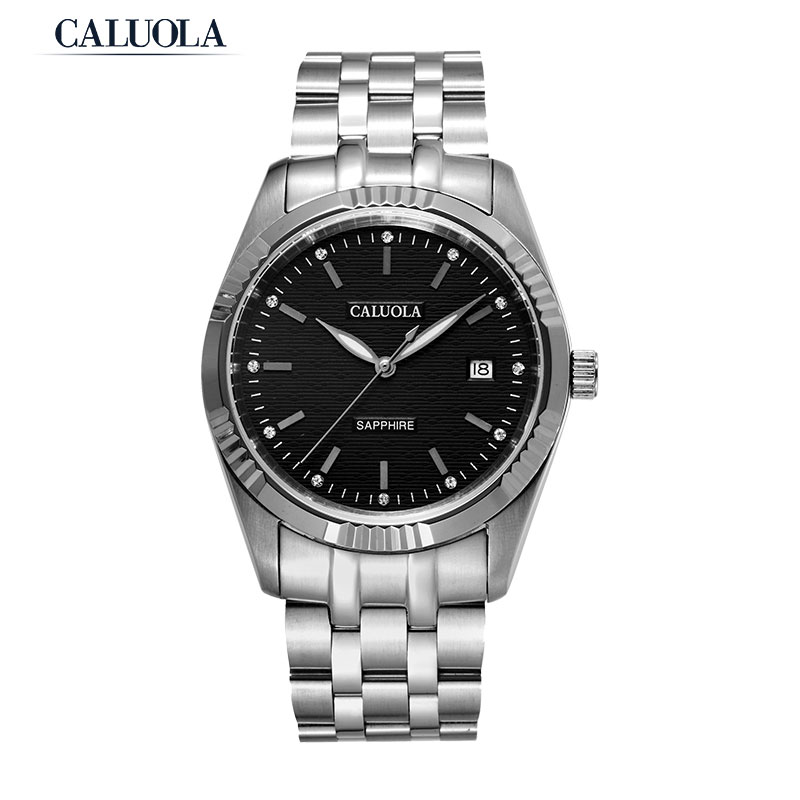 Caluola Automatic Men Watch Fashion Business Date Luminous Watch Steel CA1051MM