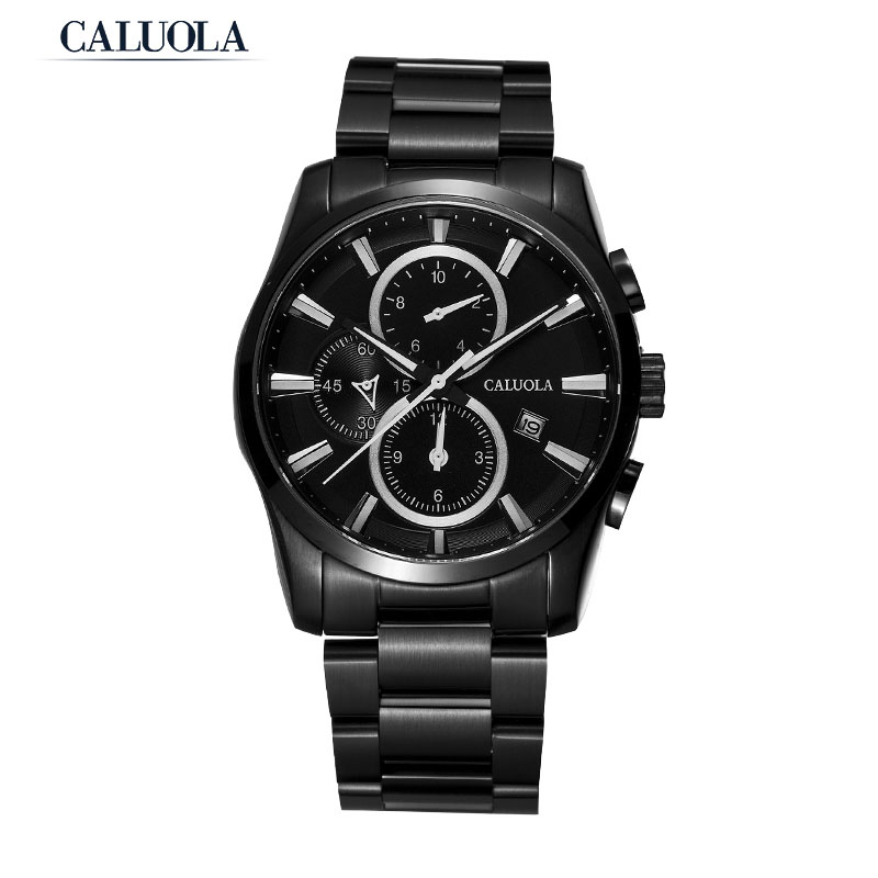 Caluola Fashion Men Watch Date Chronograph Quartz Watch PVD Sport CA1107G