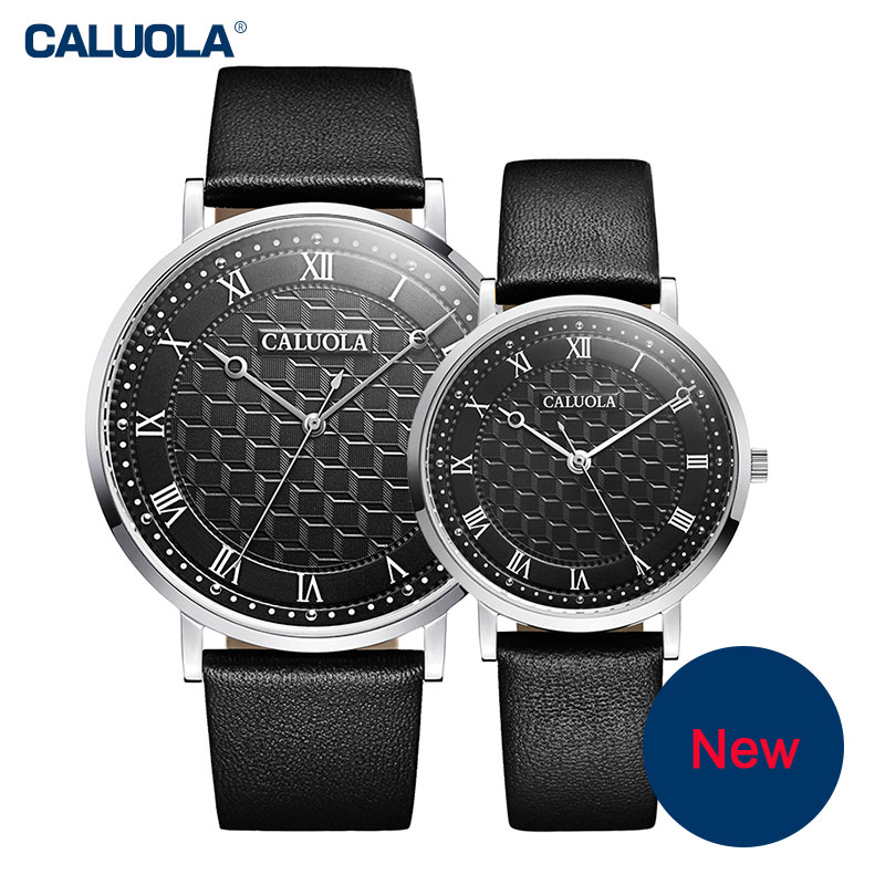 Caluola Couple Watch Quartz Watch Ultra Thin Dial Fashion Leather Watches CA1087L
