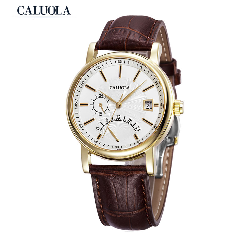 Caluola Men Watch Fashion Quartz Watch Business Date 24-Hour Watches Leather 1117G