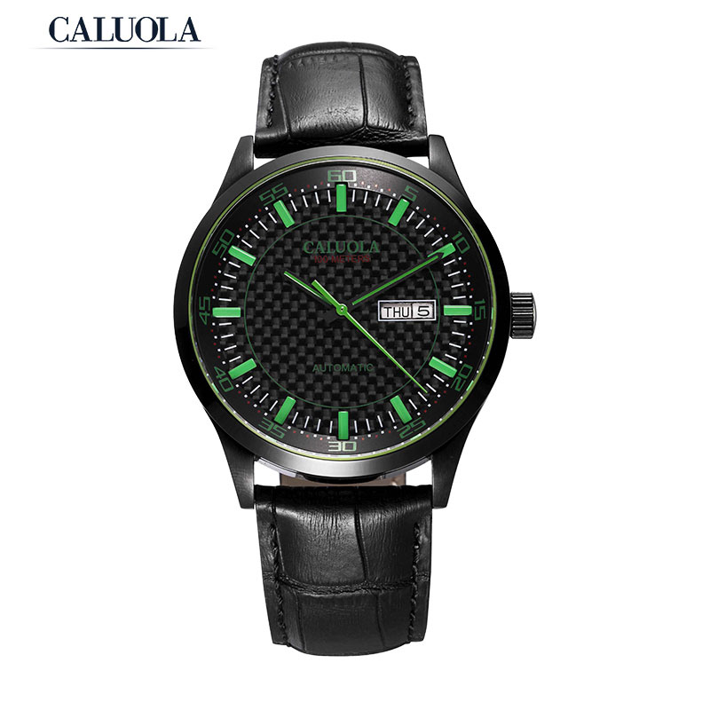 Caluola Men Watch Automatic Watch With Day-Date Sport Black Watches CA1133MM