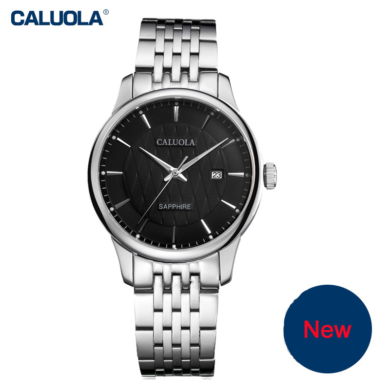 Caluola Quartz Watch Business Date Luminous Casual Men Watches Steel CA1022G
