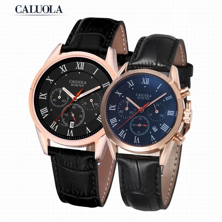 Caluola Quartz Watch Fashion Couple Watch Date Chronograph 24-Hour Sport CA1060G