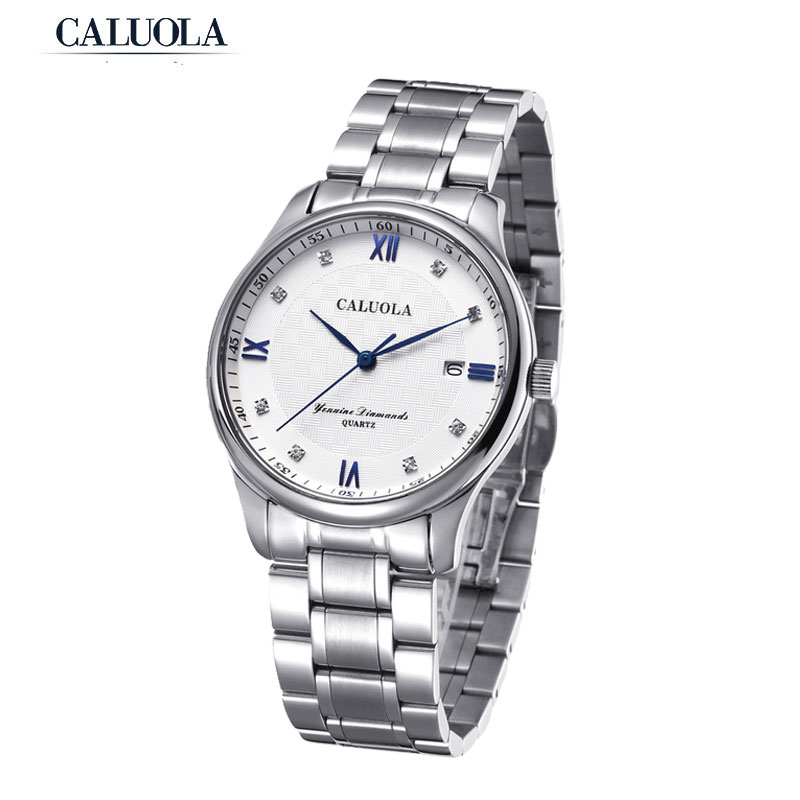 Caluola Quartz Men Watch Fashion Date Business Watch Steel CA1028G