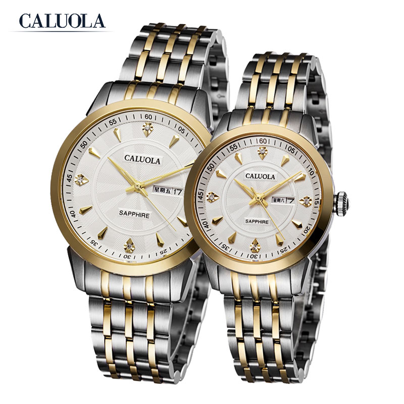 Caluola Couple Watch Quartz Day-Date Luminous Watch Fashion Steel Leather CA1070G