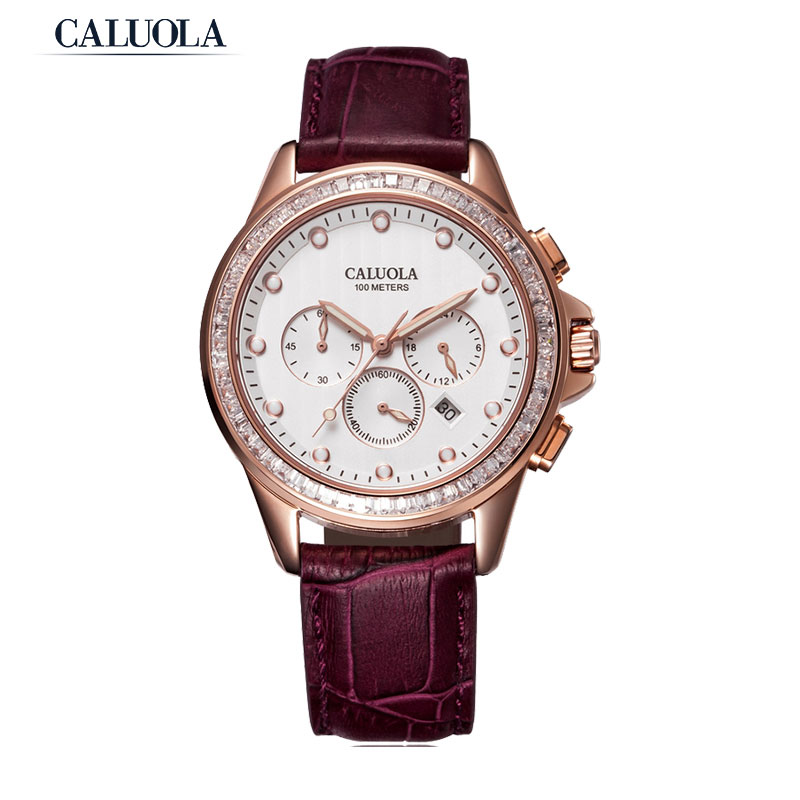 Caluola Quartz Watch Date Fashion Women Watch Diamond Chronograph Sport CA1098L