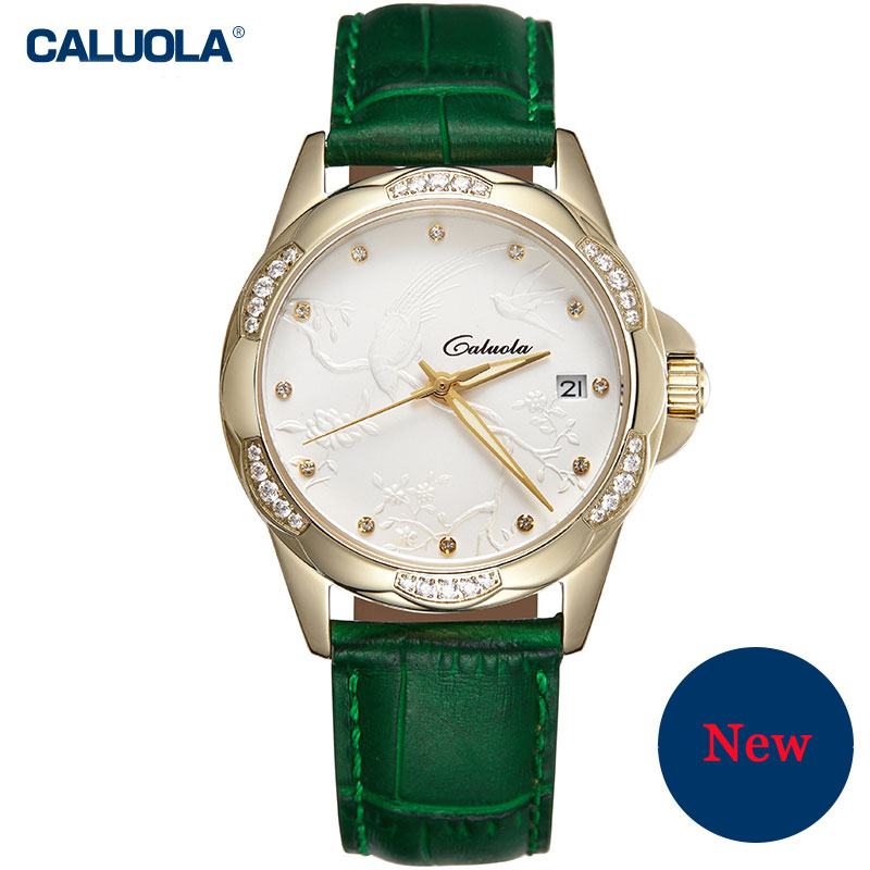 Caluola Automatic Watch Date Fashion Women Relief Watch Elegant Diamond CA1140ML