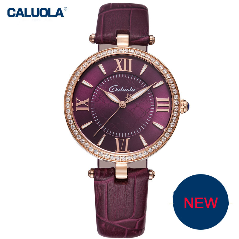 Caluola Women Dress Watch Quartz Watch Luminous Fashion Diamond Business CA1130L