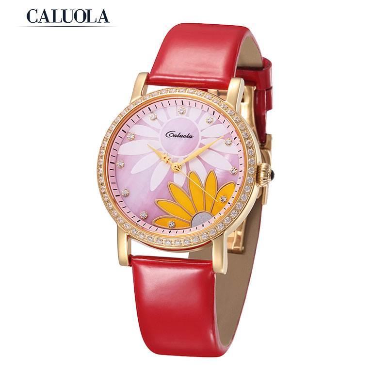Caluola Fashion Women Watch Vintage Chrysanthemum Diamond Quartz Watch Casual CA1090LChry