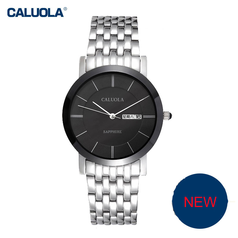 Caluola Couple Watch Ultra-Thin Quartz Day-Date Watch Fashion Steel CA1027G