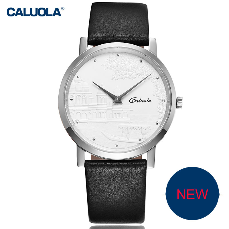 Caluola Fashion Watch Quartz Relief Dial Men Business Leather Watch CA1053GL