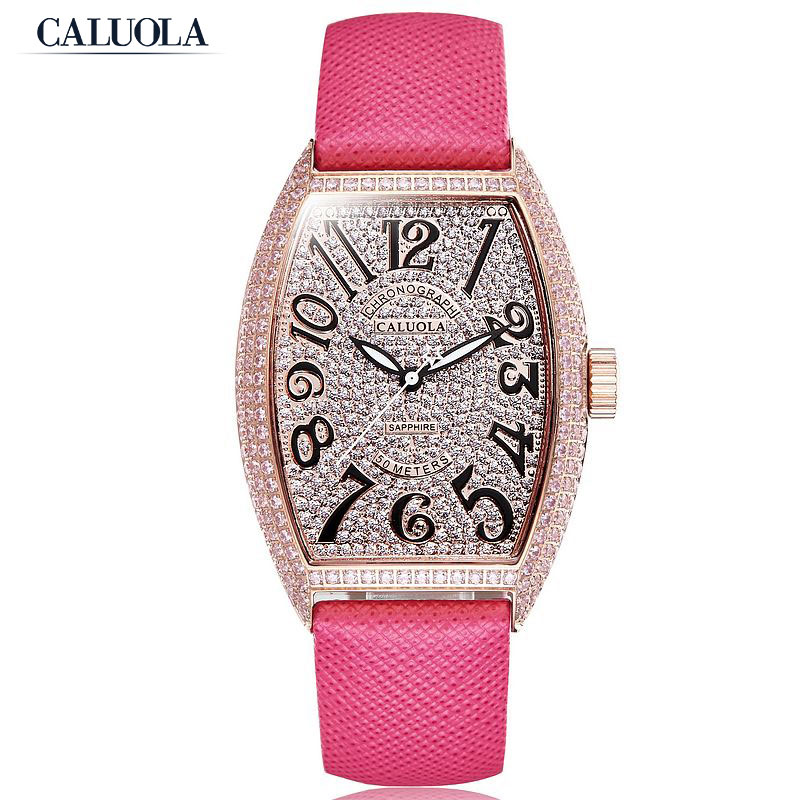 Caluola Fashion Quartz Watch Women Tonneau Design Diamond Dress Watch CA1141L1