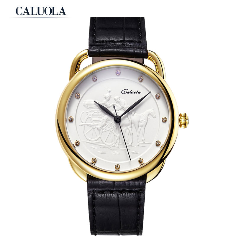 Caluola Quartz Watch Women Watch Vintage Watch Relief Dial CA1061GL