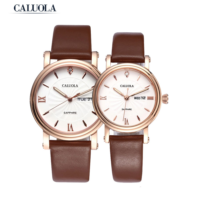 Caluola Quartz Watch Business Day-Date Luminous Couple Watch Simple CA1063L