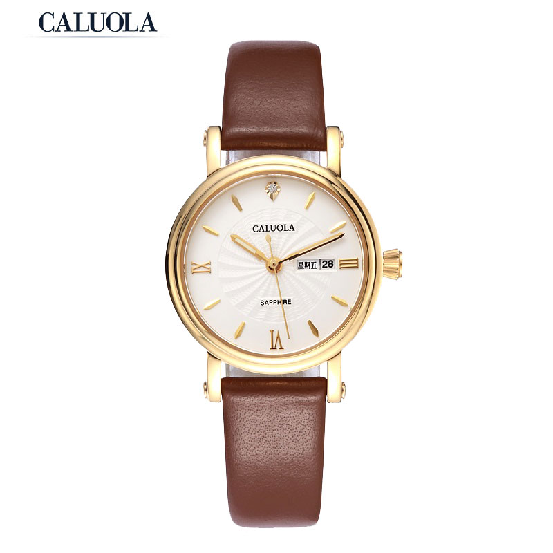 Caluola Women Watch Quartz Watch Day-Date Business Luminous Simple CA1063L