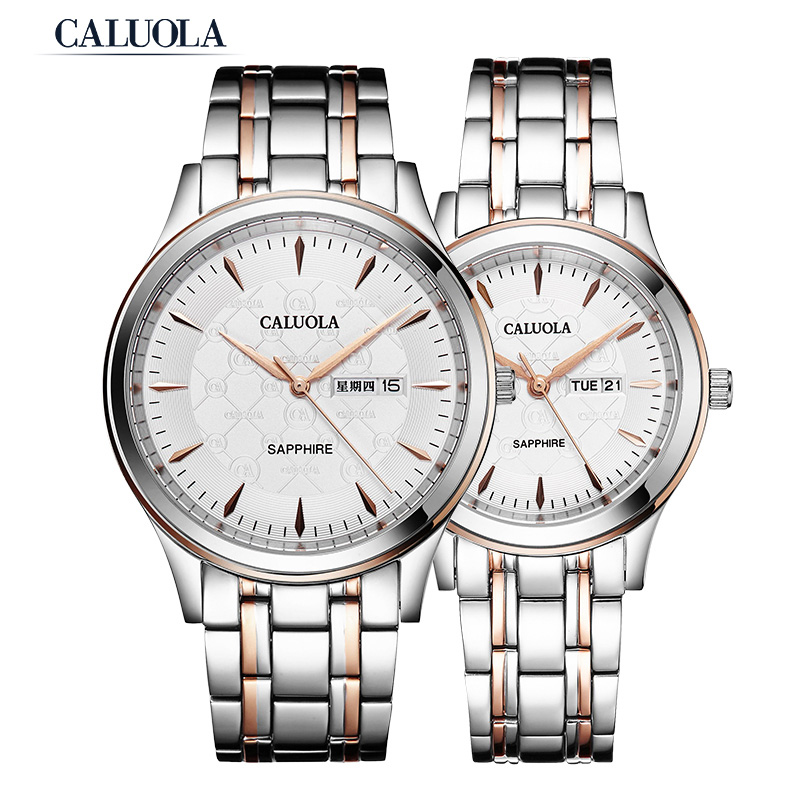 Caluola Quartz Watch Vintage Design Couple Watch Day-Date Casual CA1200GL