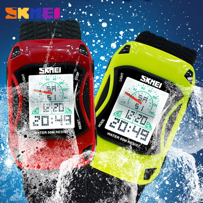 SKMEI Children Car Cartoon Waterproof Swim Silicone Watch
