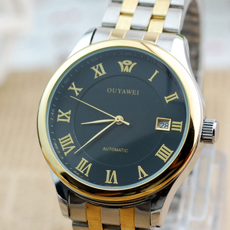 Fashion Waterproof Quartz White/Black Dial Alloy Bracelet Men Watch